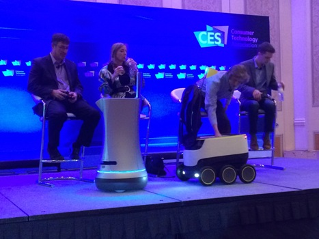 Starship makes a delivery at the Robotics Conference at CES 2017.