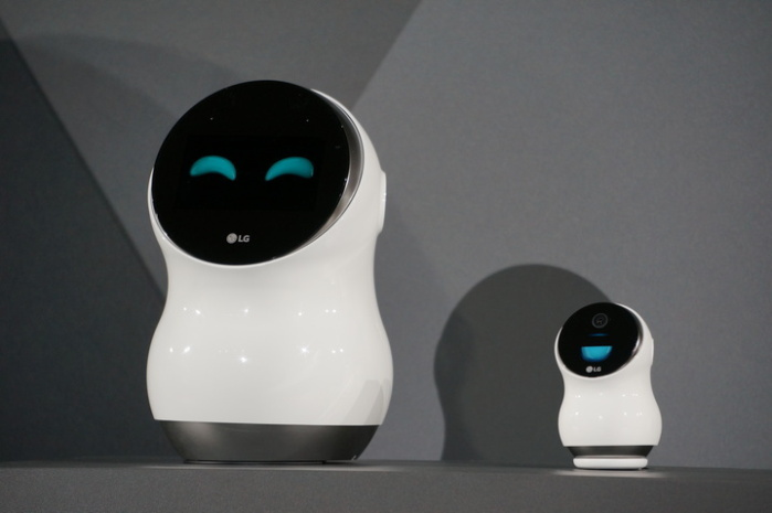 The LG Hub Robot and Hub Robot Mini sit on a pedestal at CES in Las Vegas on Jan. 4, 2017