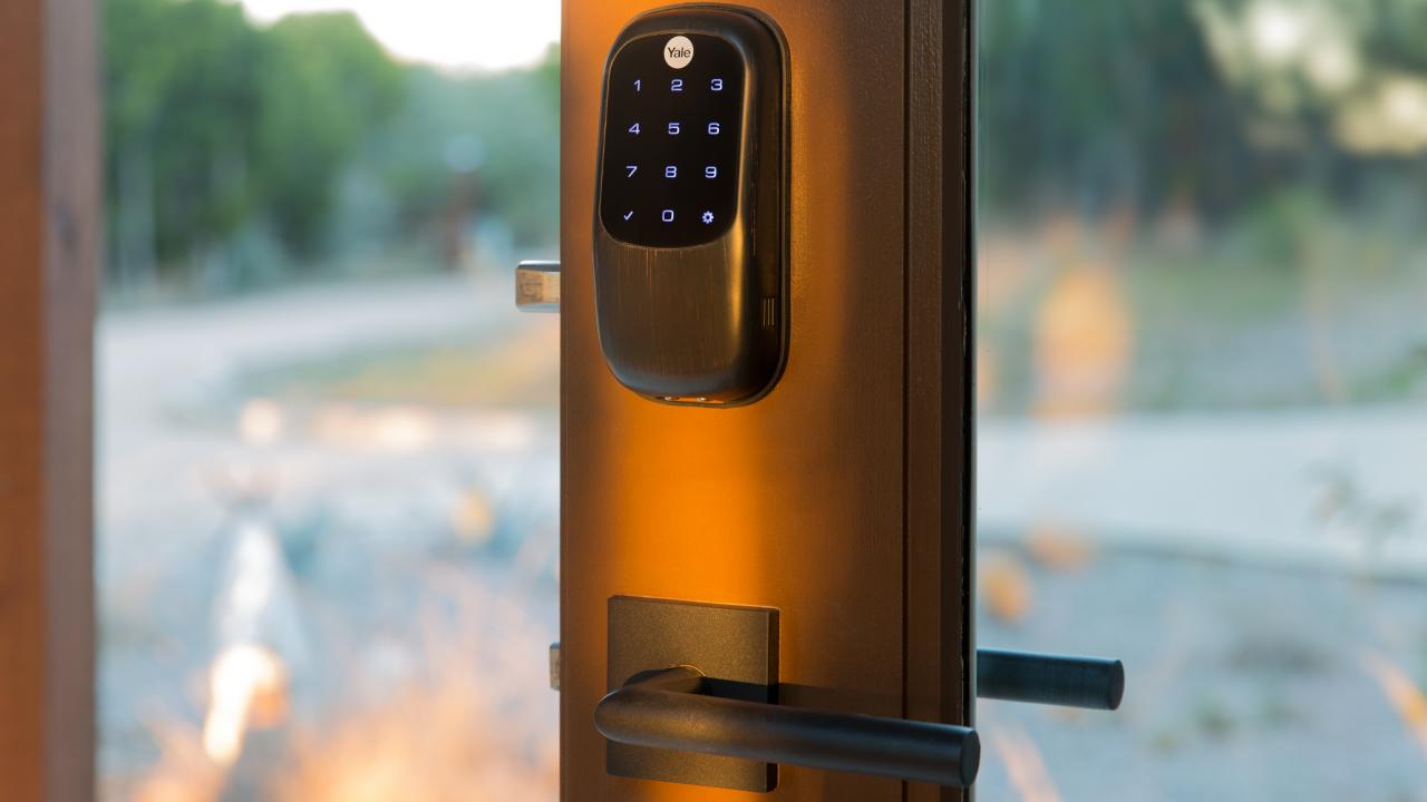 Smart door locks combine safety with convenience, and are a popular place to start with upgrading your home to a smart home. This Yale Assure lock is keyless, and offers shareable digital keys, a touchscreen for PIN code entry, and integration with many home automation and security systems. Image: Digitized House Media.