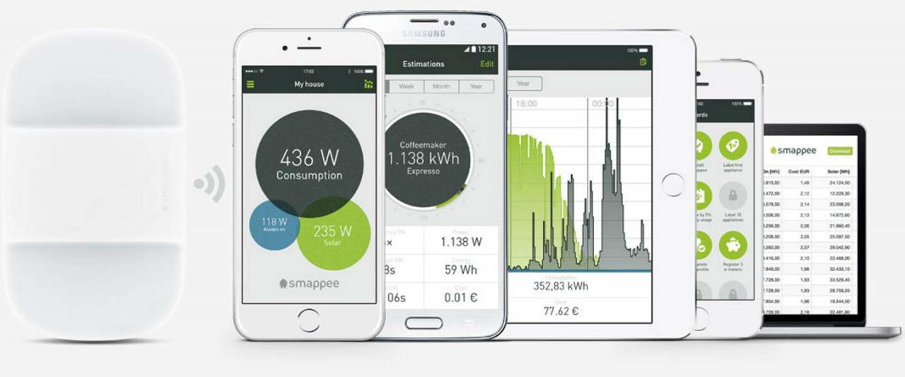 A holistic gateway to your home's energy data, the Smappee app runs on smartphones, tablets, and web browsers and gives real-time and historical statistics. Image: Smappee.